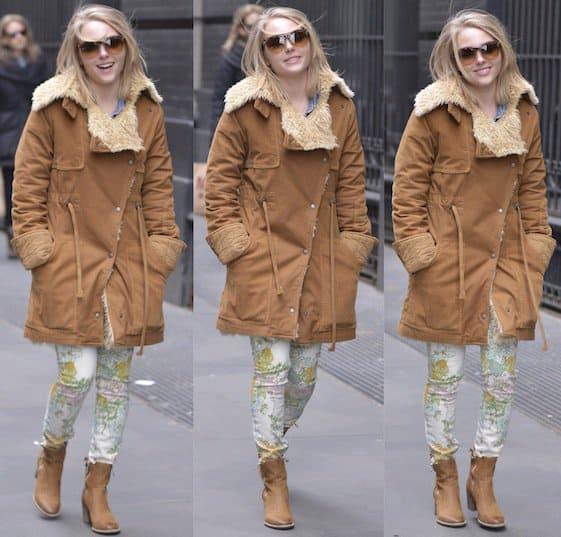 AnnaSophia Robb wears a heavy shearling coat over a pair of Paige Denim Verdugo skinny jeans