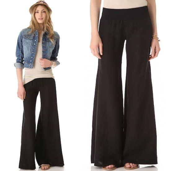 Enza Costa Wide-Leg Pants in Black