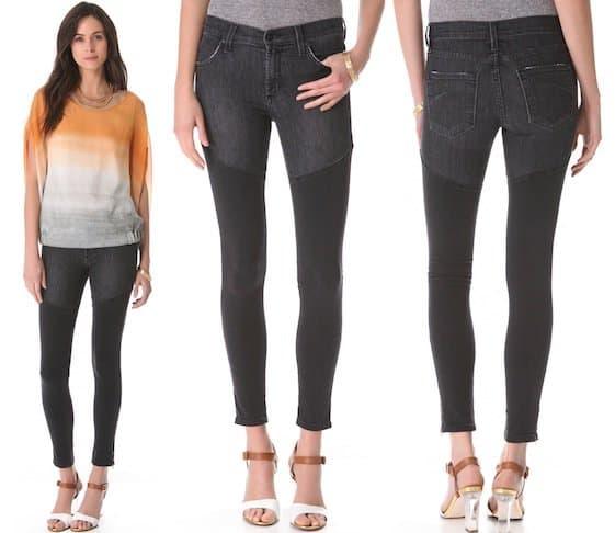 Moto-inspired, faded black contrast panel skinny jeans