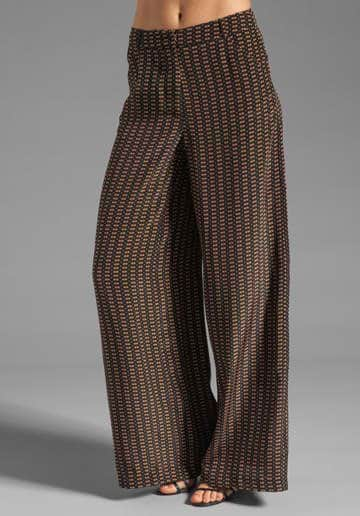 Tracy Reese Motif Stripe Easy Palazzo Pants in Black/Caramel