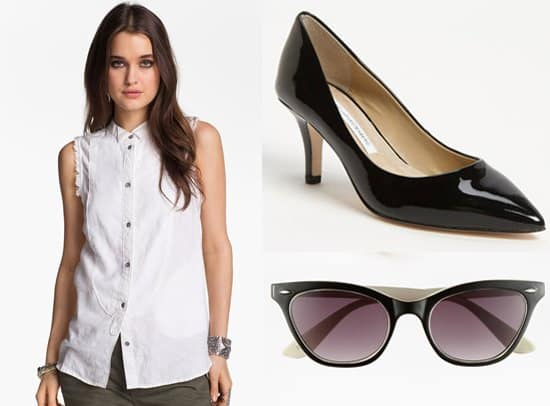 Free People Sleeveless Shirt, Diane von Furstenberg Anette Pumps, and FE NY Wink Sunglasses