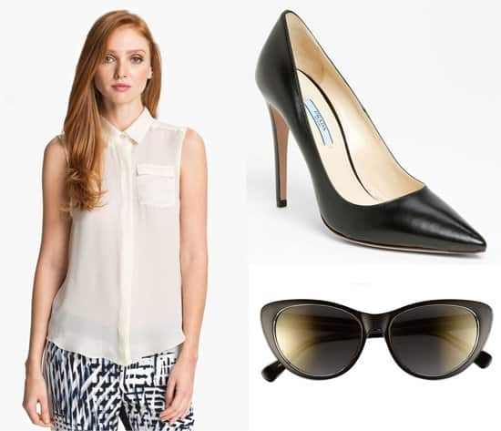Parker Chip Silk Top, Prada Pointed-Toe Pumps, and Le Specs Lethal Clutch Sunglasses