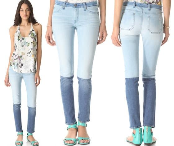 Tricolor panels give 5-pocket skinny jeans a retro, hand-crafted look