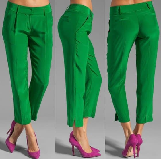 Milly Solid Silk Nicole Pants in Kelly