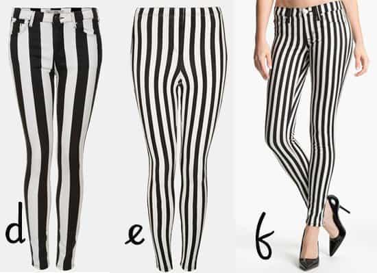 Topshop Moto Leigh Stripe Skinny Jeans / Topshop Mod Stripe Denim Leggings / Hudson Jeans Krista Stripe Super Skinny Jeans