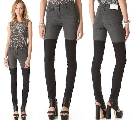 Contrast panels detail the legs on a pair of 5-pocket skinny jeans, styled with a crinkled wash.