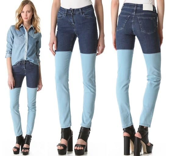 Contrast panels detail the legs on a pair of two-tone, 5-pocket skinny jeans