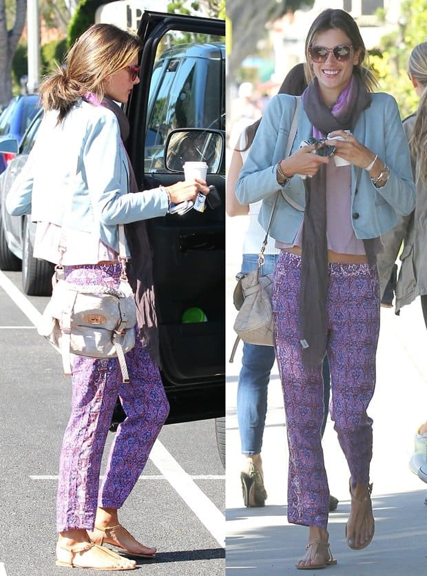 Alessandra Ambrosio wearing pants with paisley prints all over