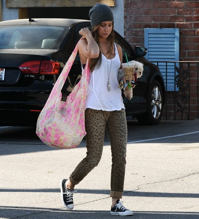 Ashley Tisdale wearing leopard-print skinny jeans