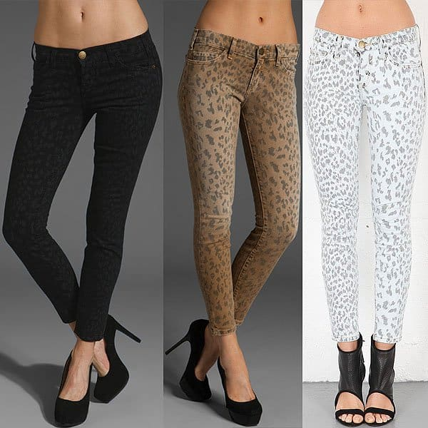 "Current/Elliott ""Stiletto"" Skinny Jeans in Black Leopard, Camel Leopard, and Bleached Out Leopard"