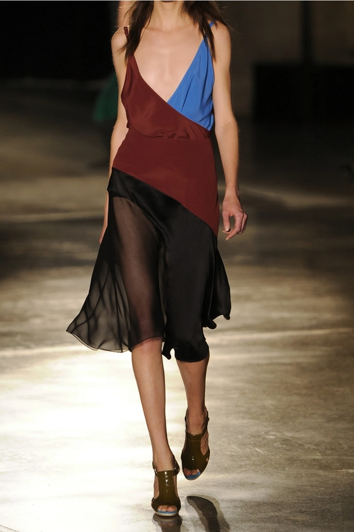 Jonathan Saunders' burgundy and blue wrap-effect camisole is crafted from beautifully fluid crepe