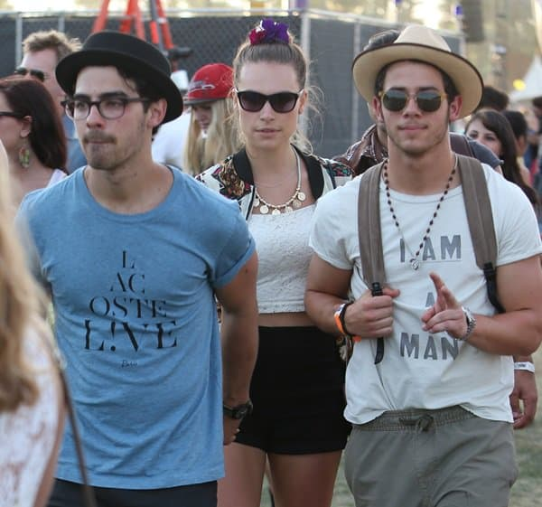 Joe Jonas and Blanda Eggenschwiler at the 2013 Coachella Valley Music and Arts Festival