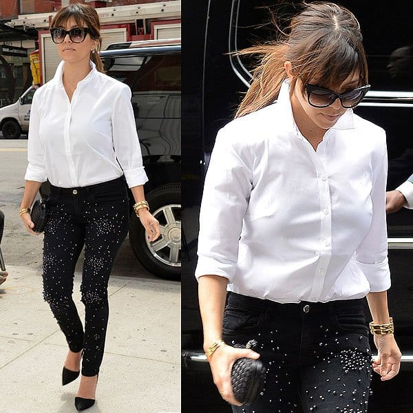 Kourtney Kardashian seen after a lunch out with her family at Serafina's in New York City on April 22, 2013