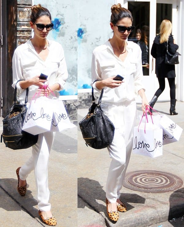 Lily Aldridge styled pleated, slouchy silk 3.1 Phillip Lim pants with Charlotte Olympia's Kitty embroidered velvet flats