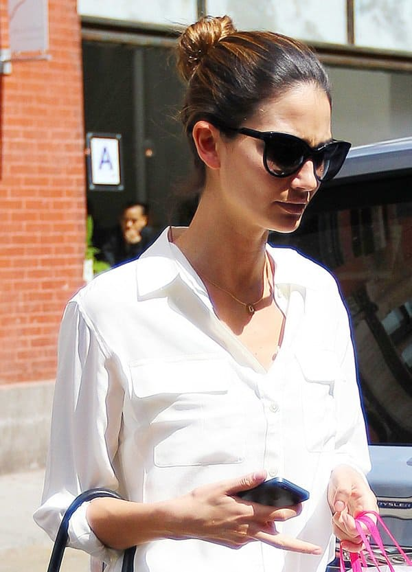Lily Aldridge wearing Equipment's slim-fit signature blouse after a quick lunch