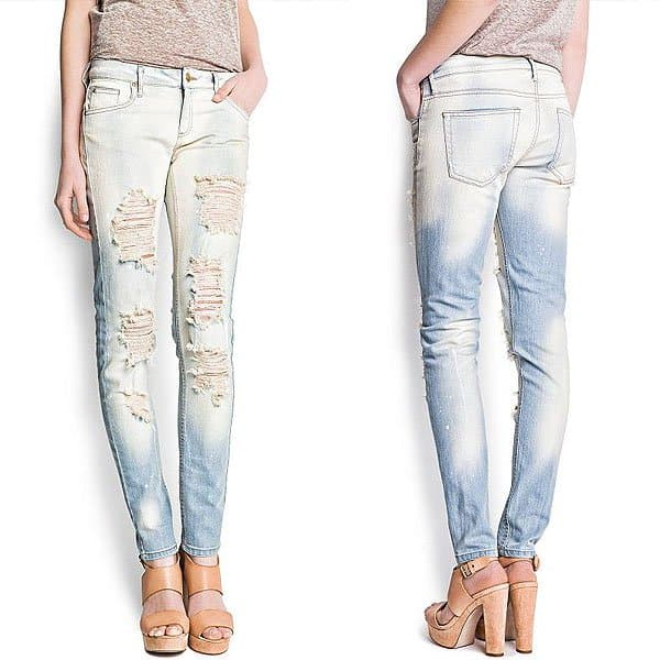 Mango Distressed Super Slim Bleached Jeans