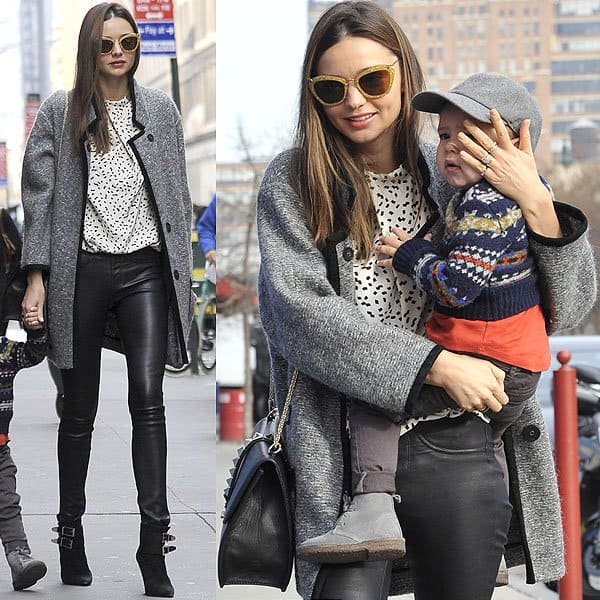 Miranda Kerr in stretch leather leggings
