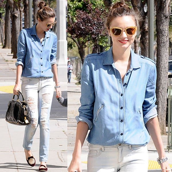 Miranda Kerr does double denim