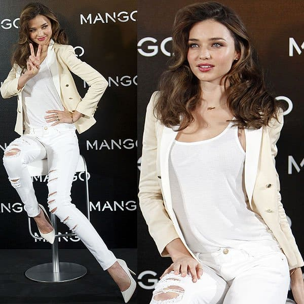 Miranda Kerr at a Mango photocall