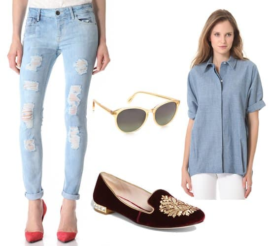 Skinny jeans with a button-down shirt, accessories, and moccasins