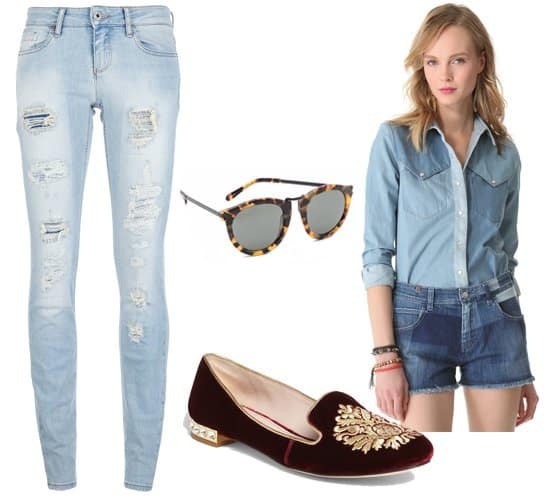Ripped jeans with a denim shirt, sunglasses, and moccasins