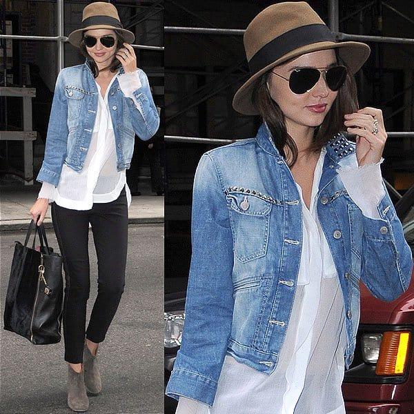 Miranda Kerr in studded denim jacket