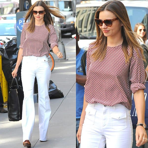 Miranda Kerr in white wide-legged jeans