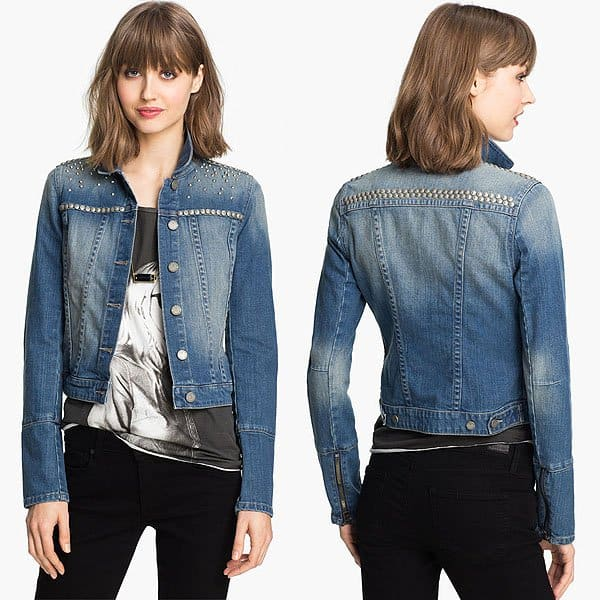 "Paige Denim ""Colbie"" Studded Denim Jacket"