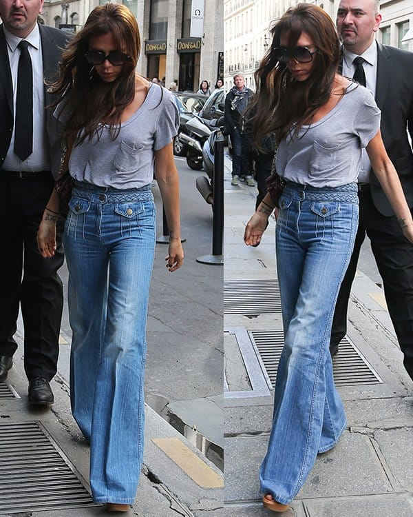 Victoria Beckham does some shopping at Eres before stopping at Hotel Costes on April 20, 2013