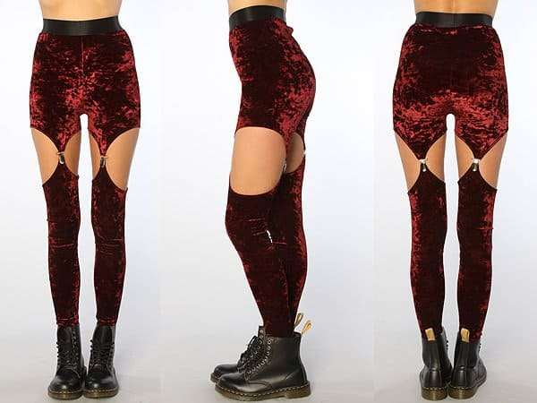 Widow The Cutout Garter Velvet Leggings