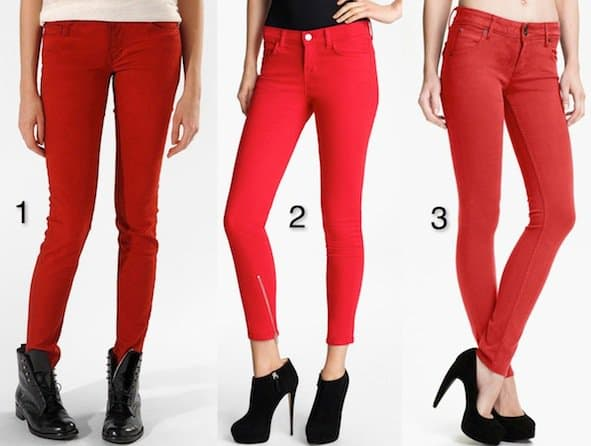 """maje """"Javaro"""" Stretch Jeans in Rouge / J Brand + Christopher Kane Overdyed Skinny Jeans in Deep Red / Hudson Jeans """"Collin"""" Skinny Jeans in Red Dahlia"""