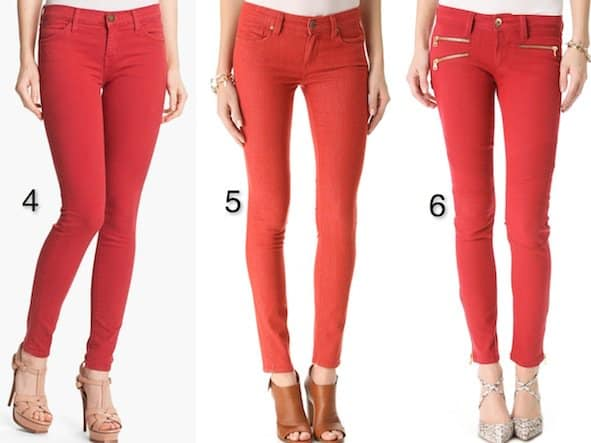 """Current/Elliott """"The Stiletto"""" Stretch Jeans in Red Coral / Paige Denim """"Verdugo"""" Ultra Skinny Jeans in Skinny Red / DL1961 """"Hazel"""" Wax-Coated Skinny Jeans in Throttle"""