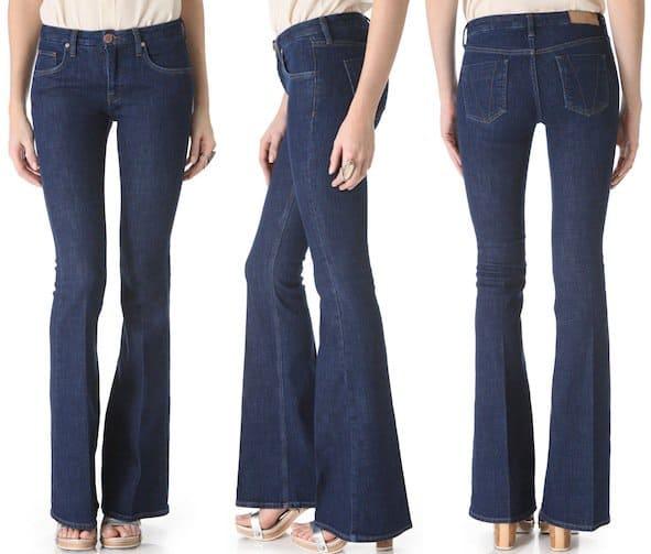 Victoria Beckham Flare Jeans in Rich Blue