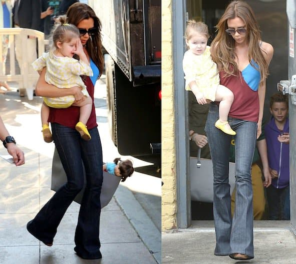 Victoria Beckham with her children exiting American Girl Place at The Grove in Los Angeles