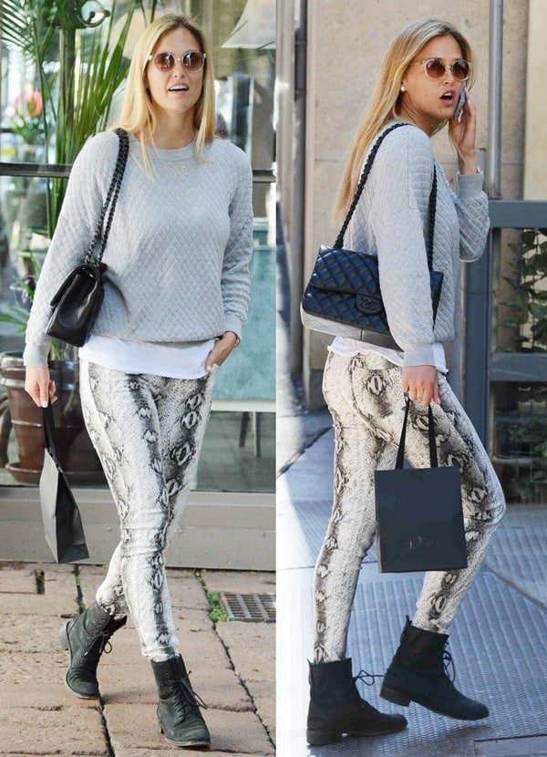 Bar Refaeli sported a gray knit sweater by Umit Benan paired with skinny snakeskin-printed jeans by Joe's Jeans