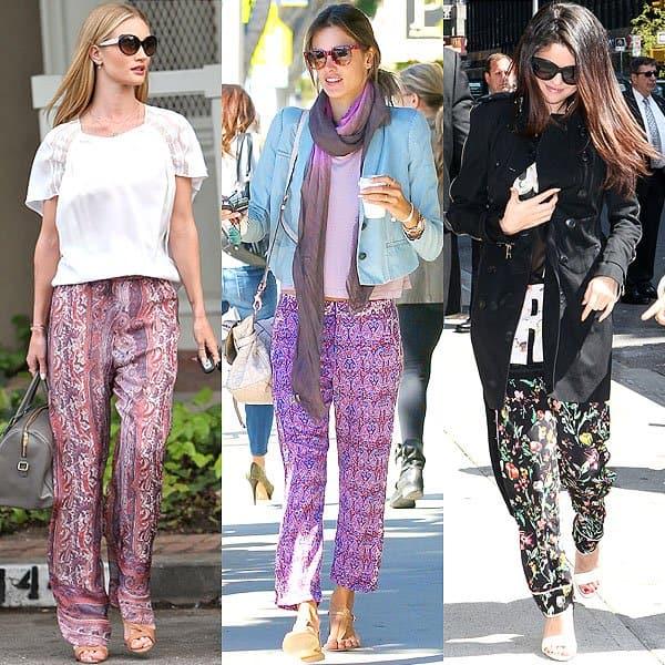 Rosie Huntington-Whiteley, Alessandra Ambrosio, and Selena Gomez in pajama pants