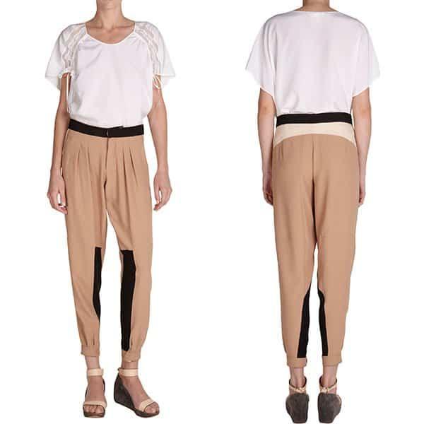 Chloe Colorblocked Pleated Pants