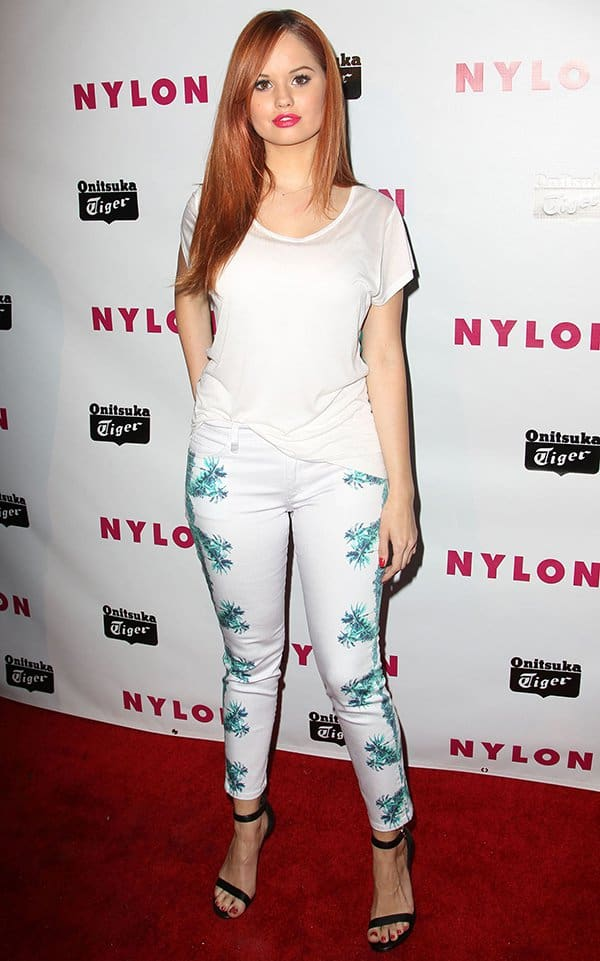 Debby Ryan wearing relaxed boyfriend tee by Sjobeck paired with a cool pair of jeans by Joe's Jeans