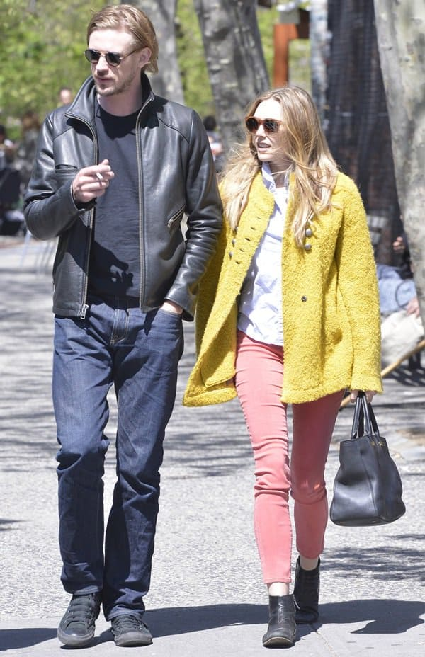 Elizabeth Olsen and Boyd Holbrook out in SoHo on a sunny day in New York City, New York, April 30, 2013
