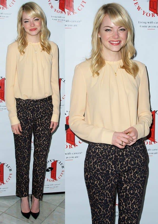 Emma Stone wears pajama pants at the Gilda's Club NYC 6th Annual Benefit Luncheon celebrating women working and living with cancer