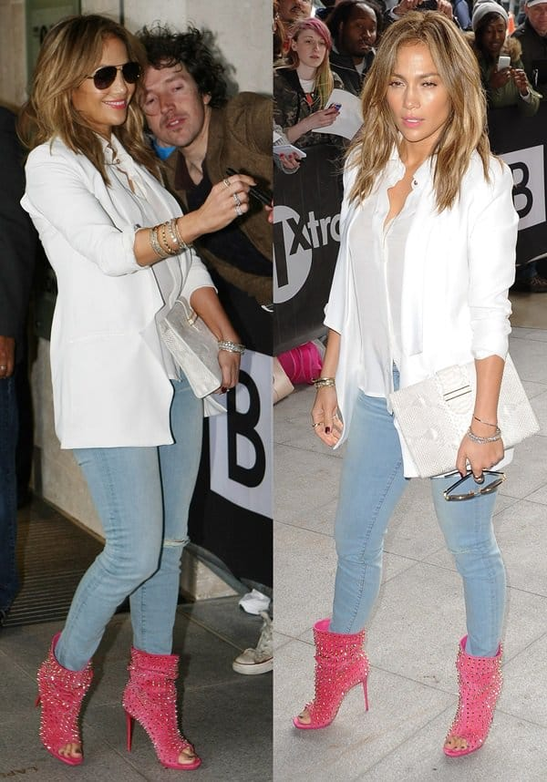 Jennifer Lopez in another pair of single-rip J Brand 811 jeans