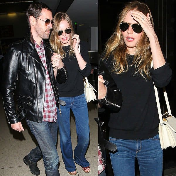 Kate Bosworth and fiance Michael Polish arriving at the Los Angeles International Airport