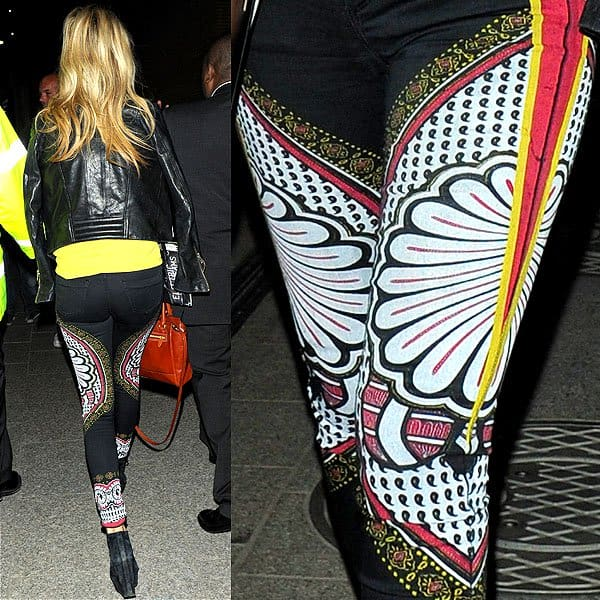 Laura Whitmore wearing Topshop MOTO Black Paisley-Print Leigh jeans