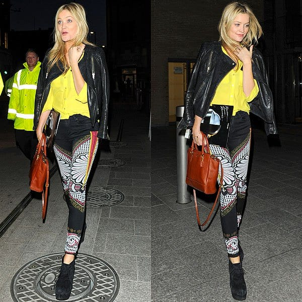 Laura Whitmore arriving at the listening party for Daft Punk's new album, 'Random Access Memories', at The Shard in London, England on May 13, 2013