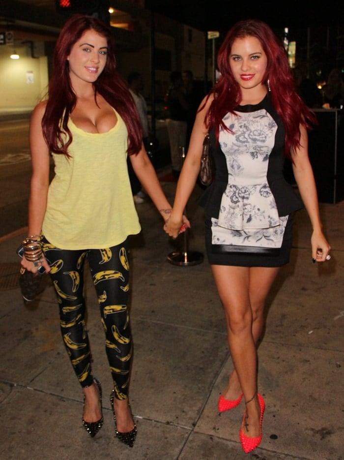 Playboy models Melissa Howe and Carla Howe arrive at Tru Nightclub