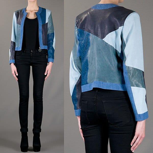MiH paneled denim and leather jacket