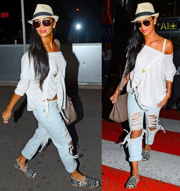 Nicole Scherzinger adds a touch of chic by wearing ripped denims