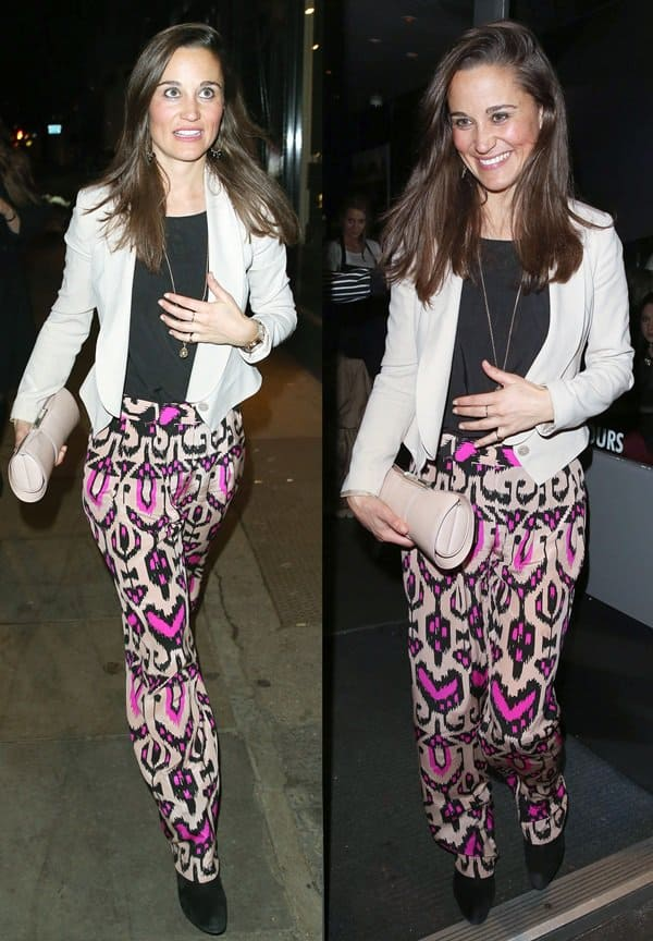 Pippa Middleton in printed trousers by Temperley London