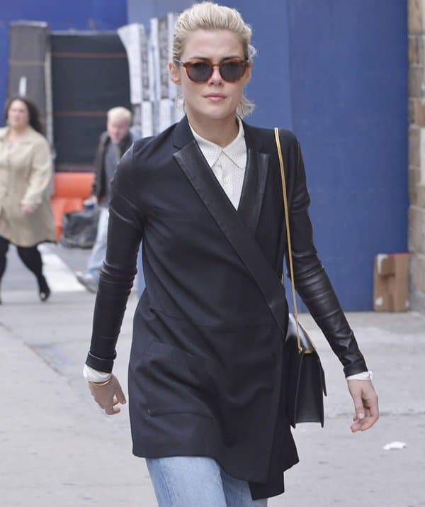 Australian actress and model Rachael Taylor walking in the West Village