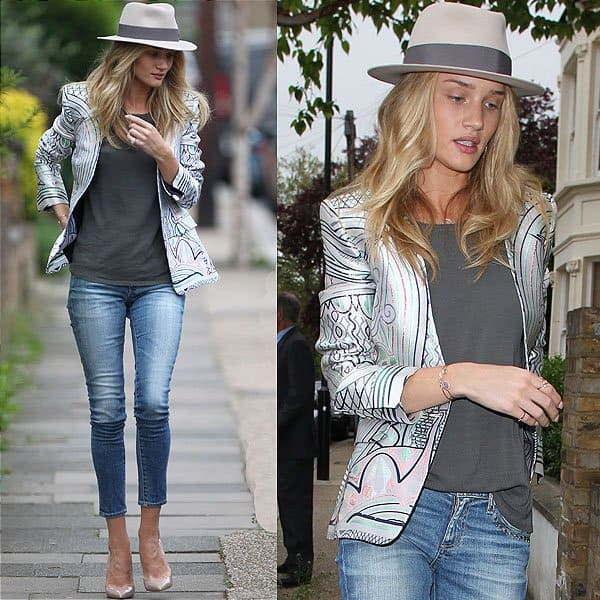 Rosie Huntington-Whiteley looking stylish in Western studded AG Adriano Goldschmied jeans